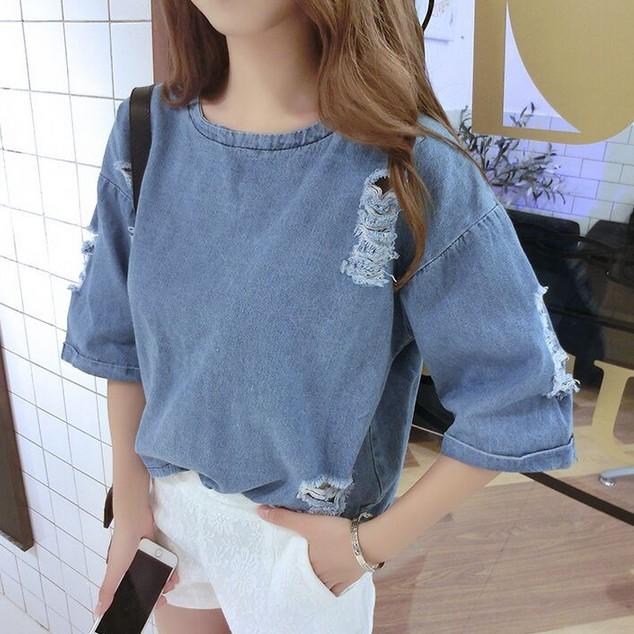 Cheap wholesale 2016Hot selling women fashion casual Japan designer loose batwing half sleeve top Girls sexy Hole Denim T-shirt