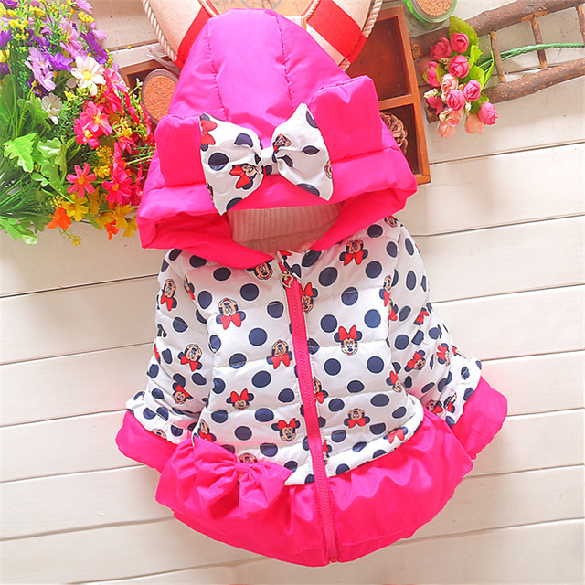 2016 children winter christmas Thicken outerwear parkas baby Girls snowsuit Coats kid minnie mouse warm hooded Jacket Q174
