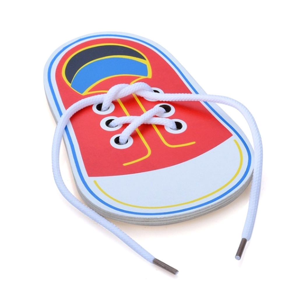 1PC Wooden Lacing Shoe Toy Learn To Tie Laces Threading Educational Motor Skills Toys Montessori Early Teaching Toy