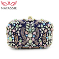 NATASSIE Women Clutch Bags Fashion Beaded Flower Bag Female Wedding Clutches Purses Blue