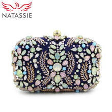 NATASSIE Women Evening Bag Fashion Beaded Clutch Bags Female Clutches Purses Blue Wedding Handbags