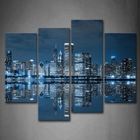 Blue Coo4 Pcs Blue Buildings In Dark Color In Chicago Wall Art Painting The Picture Print On Canvas City Pictures Drop shipping