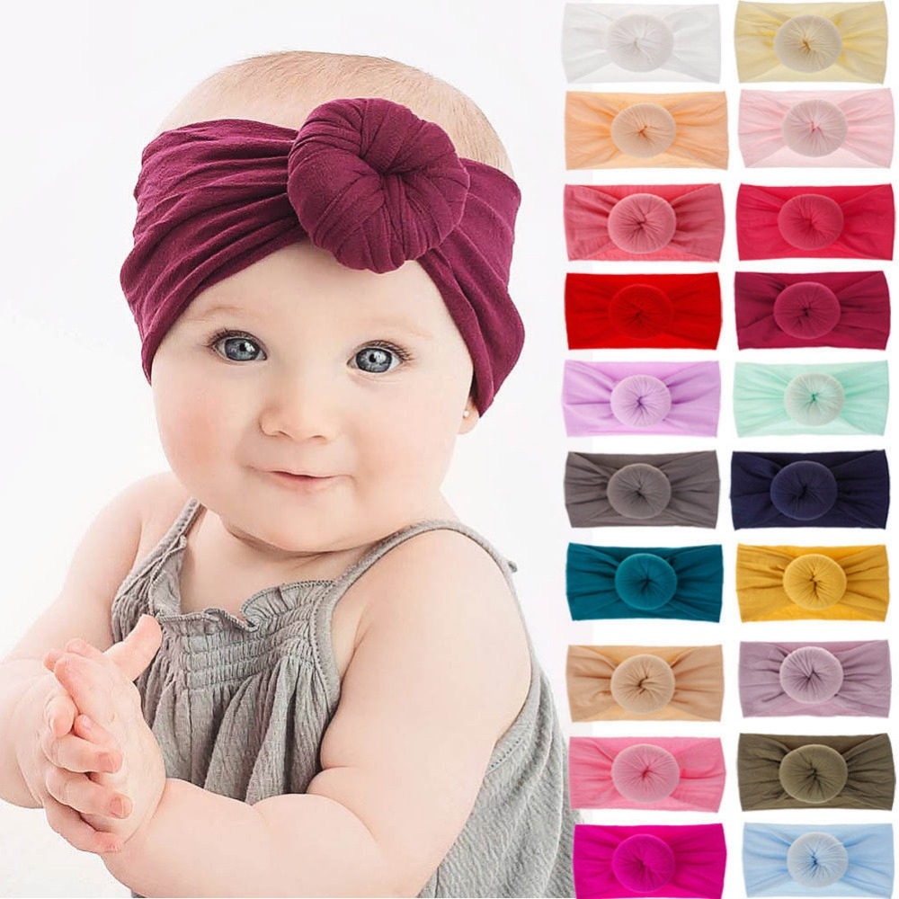 36PC lot Top Selling Round Knot Nylon Headbands For Girls Donuts Headband Head Wraps Turban Hair