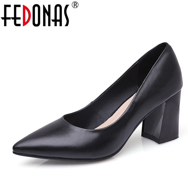 FEDONAS 2018 New Fashion Genuine Leather Women Pumps High Heels Solid Sexy Pointed Toe Office Pumps Female Comfort Shoes Woman women shoes genuine leather pointed toe high heels women pumps shoes 2018 brand new fashion sexy red women office shoes 2588 a01