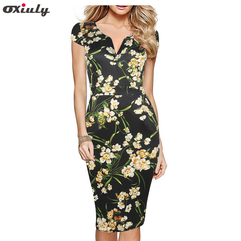 Oxiuly Womens Elegant Vintage Rockabilly Floral Flower Print Pinup V Neck Casual Party Bodycon Sheath Dress with Pockets