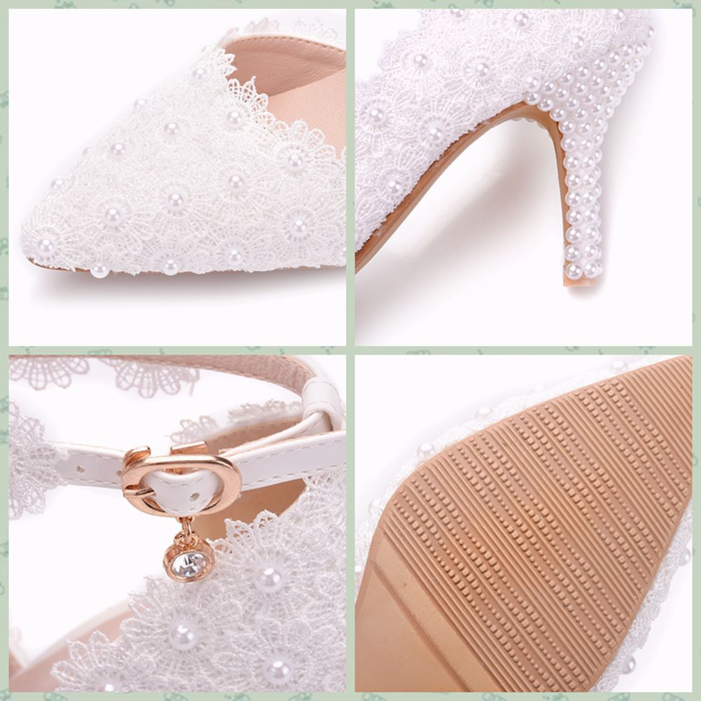 La Blanc Rome Talons Zuoxiangru Cm Bout Plus Femmes Style De Sandales Pompes Dentelle Boucle Taille Pointu Chaussures 8 Mariage Haute Sangle q4xnxdzwPX