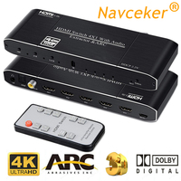 2019 Best 4K HDMI 2.0 Switch Remote 4x1 HDR HDMI Switcher Audio Extractor With ARC & IR Switch HDMI 2.0 For PS4 Apple TV HDTV