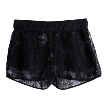 Women's Drawstring Shorts Sexy Lace Sheer Floral Hollow Out Elastic Party Travel Shorts Panty Summer 2