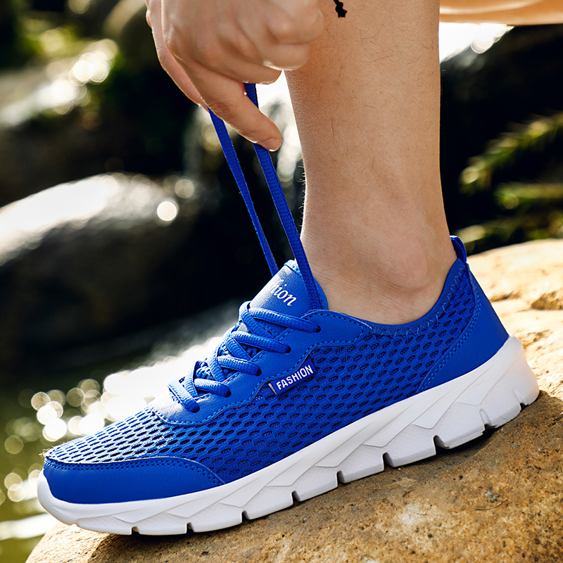 POLALI Plus Size 38-48 Summer Men Sneakers High Quality Air Mesh Men Shoes Breathable Casual Shoes Men Fashion Men'S Shoes