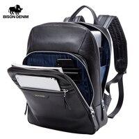 Бизон джинсовые пояса из натуральной кожи рюкзак мужской 14 дюймов ноутбук рюкзак туристический рюкзак мужской моды школьный для мужчин N2337