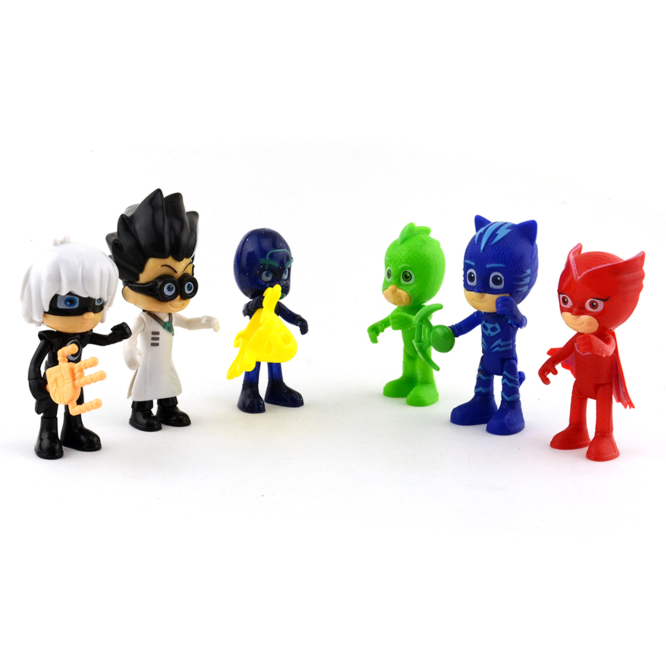 High Quality Hot Cartoon PJ Figure Mask 7-8cm PVC Character Catboy Owlette Gekko Action Figures Toys Birthday Gift Toy For Kids recur toys high quality horse model high simulation pvc toy hand painted animal action figures soft animal toy gift for kids