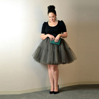 Special Design For Plus Size Women Tulle Skirts With 5 Layers Mesh One Lining Knee Length