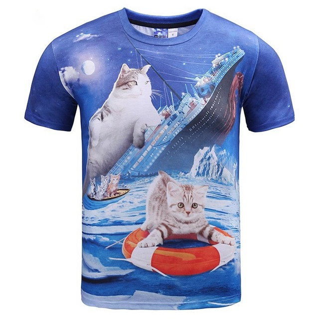 3D cat t-shirt hamburger attack