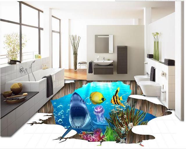 3d Fußboden Hai ~ Benutzerdefinierte 3d bodenbelag wasserdichte wand papier hai 3d