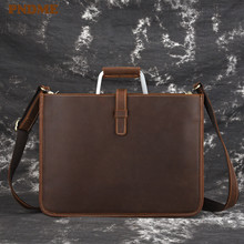 PNDME high quality crazy horse cowhide mens briefcase vintage simple business genuine leather small work handbag laptop bag
