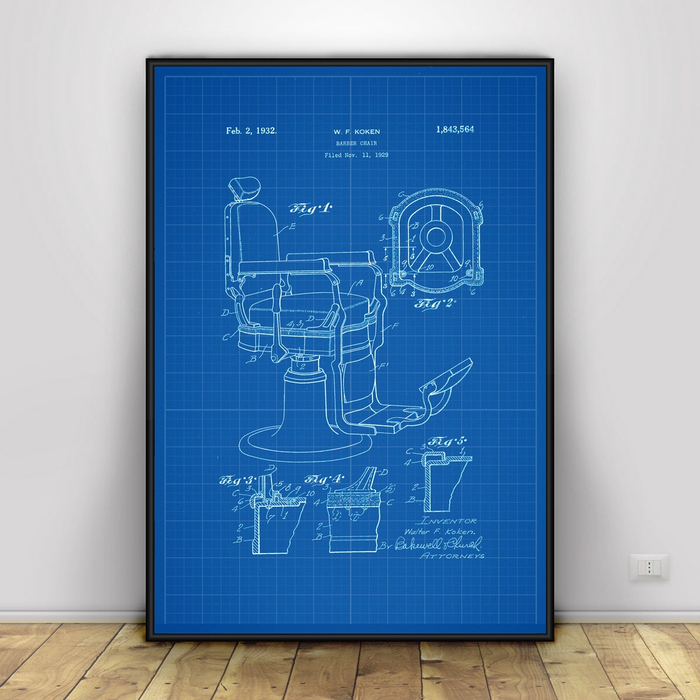 Barber Chair Patent Print Barber Art Silk poster Home Decor ...