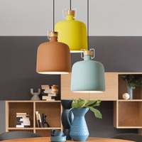 YWXLight Nordic Style Macaron Wrought iron Round Chandelier Modern Minimalist Wooden Chandelier Lamp With E27 Bulb AC 85 265V