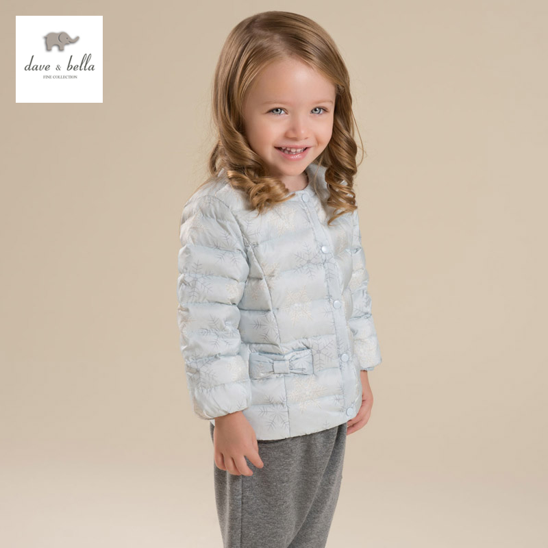 DB4208 dave bella winter baby girls thin white duck down coat girls pink snowflake printed coat