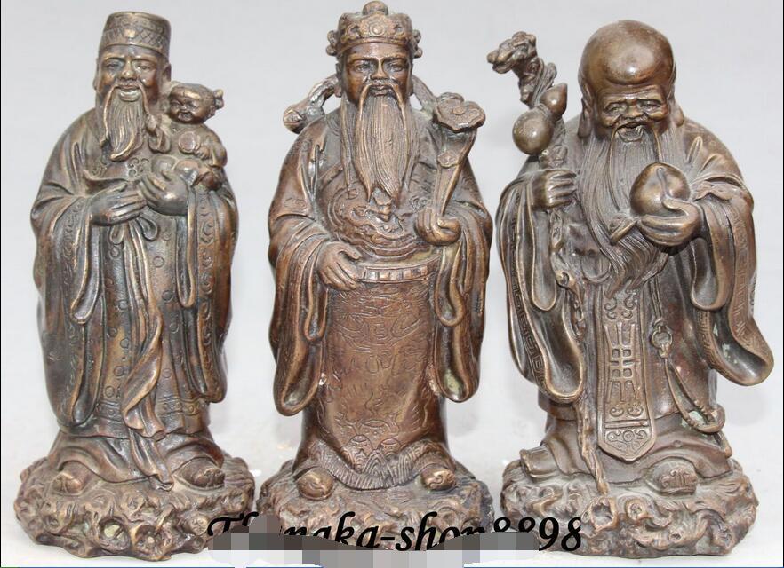 7 China Fengshui Bronze 3 Longevity God Fu Lu Shou Life Ruyi Tongzi Set Statue7 China Fengshui Bronze 3 Longevity God Fu Lu Shou Life Ruyi Tongzi Set Statue