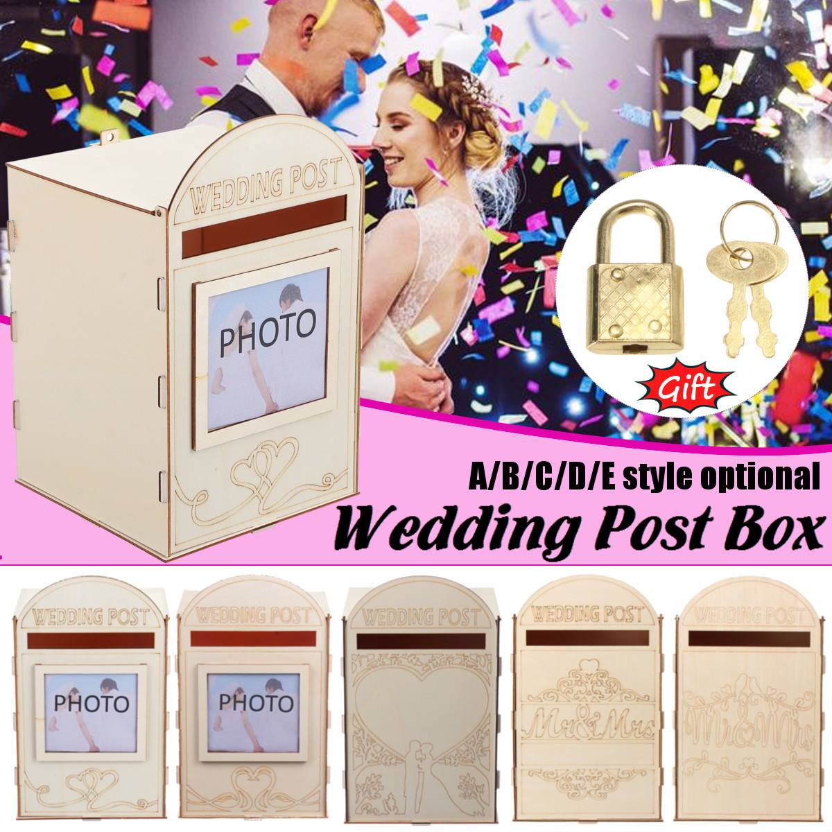 Diy Wooden Wedding Supplies Mailbox Royal Mail Style Ornaments Wedding Post Box Card Boxes With A Key