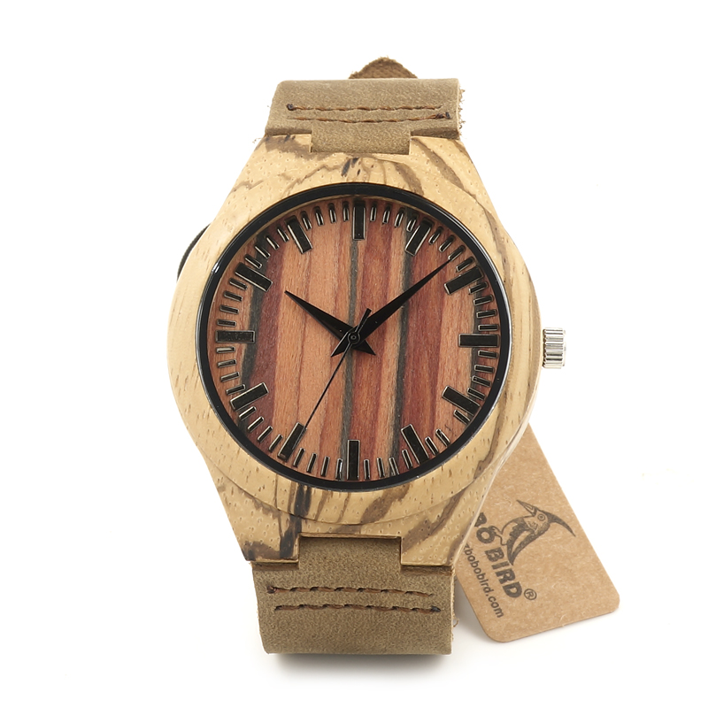 ФОТО BOBO BIRD F26 Business Luxury Brand Designer Men's Wood Watches With Genuine Leather Straps Quartz Watch in Gift Box Relogio OEM