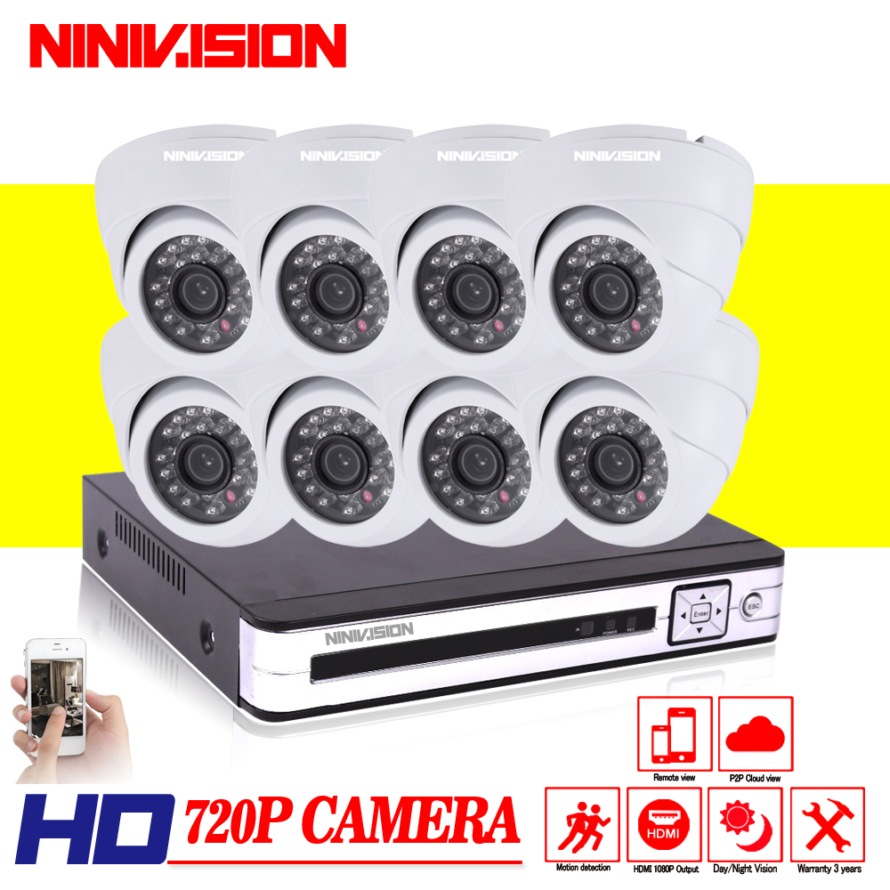 8 Channel H.264 DVR 8CH AHD 8*720P 1.0MP Cameras indoor Night Vision Surveillance Home Video CCTV Camera System Kit 1TB HDD