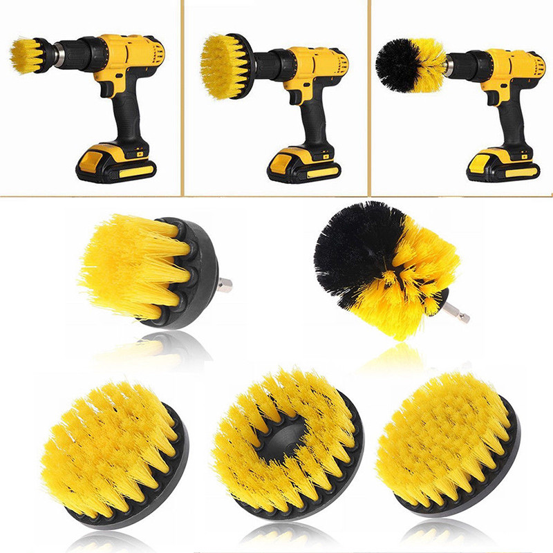 Tools Fine 5pcs/set Yellow Electric Drill Brush Plastic Round Cleaning Brush For Carpet Glass Car Tires Nylon Brushes Power Scrubber Drill Sale Overall Discount 50-70% Hand Tools