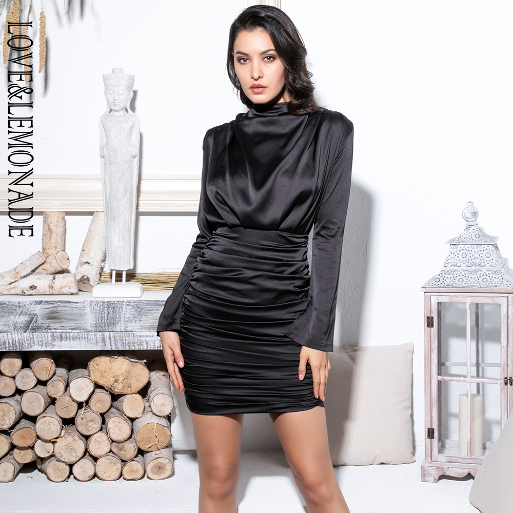 Love Lemonade High Collar Loose Upper Body Pleated Decoration Elastic Rayon Bodycon Going Out Party Dress