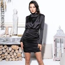 Amor & Lemonade cuello alto holgado parte superior del cuerpo plisado decoración elástico rayón ceñido al cuerpo salir vestido de fiesta LM81722 negro
