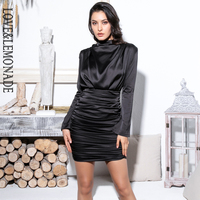 Love&Lemonade High Collar Loose Upper Body Pleated Decoration Elastic Rayon Bodycon Going Out Party Dress LM81722 BLACK
