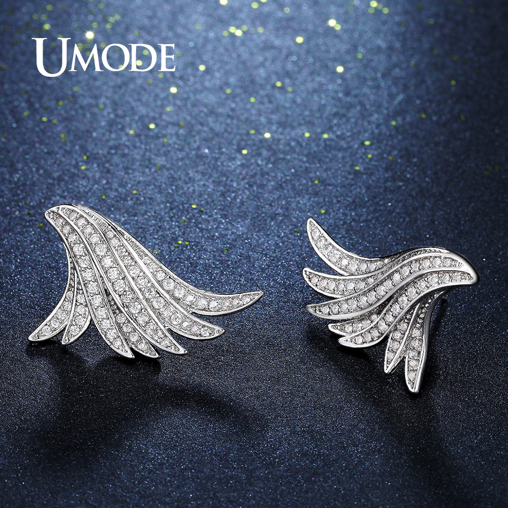 UMDOE New Charm Angel Wings Stud Earrings for Girl Friend Feather Crystal Earring Fashion Jewelry Gift Brincos Femme AUE0280