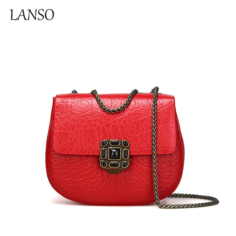 2016 Fashion Embossed Genuine Leather Messenger Bag Luxury Brand Design Vintage Shoulder Chain Bags Women Evening Party Clutch new arrival 2016 fashion women handbags messenger bag for woman brand design genuine leather shoulder bags evening party bags