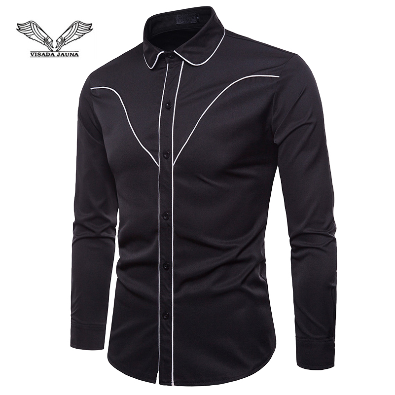 VISADA JAUNA European And American Color Matching Edging Fashion Design Men's Long-Sleeved Lapel Shirt Size S-2XL TLH04