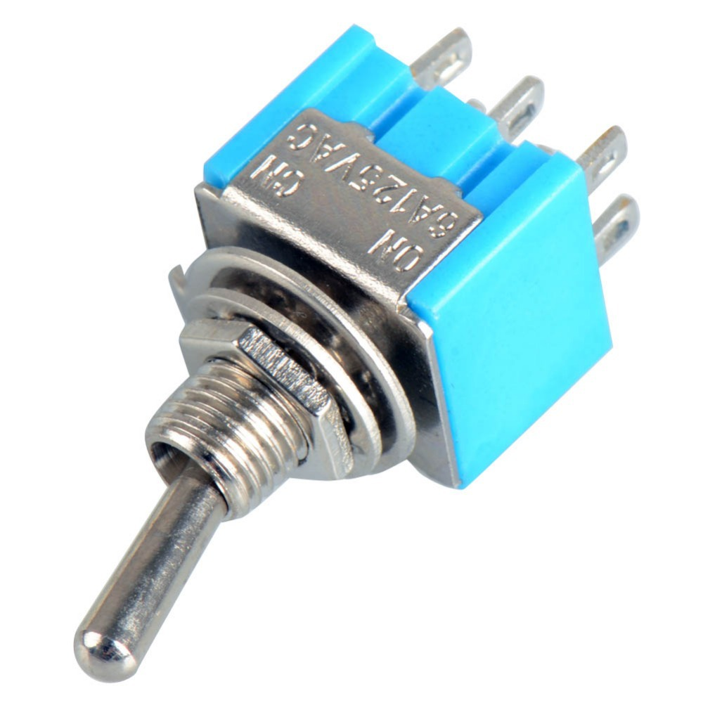 High Quality DPDT Mini Toggle Switch ON ON W/Flat Bat Lever 6A/125V ...