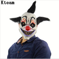 Funny Party Cosplay Killer Clown Mask Adult Mens Latex Black Hair Halloween Prank Pennywise Evil Scary
