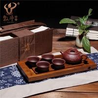 Boutique Yixing ấm trà khắc niugai Shipiao 6 peça Với nặng tre khay trà du lịch đầy đủ cửa hàng bán buôn b