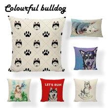 Funda de cojín con estampado Vintage de Huskies para decoración del hogar, funda de asiento para sofá o coche con dibujo de Husky Siberiano, almohadas con estampado personalizado