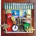 13,631 pequeno post office diy casa de bonecas de madeira em miniatura casa de bonecas miniaturas para decoração presentes dos miúdos frete grátis