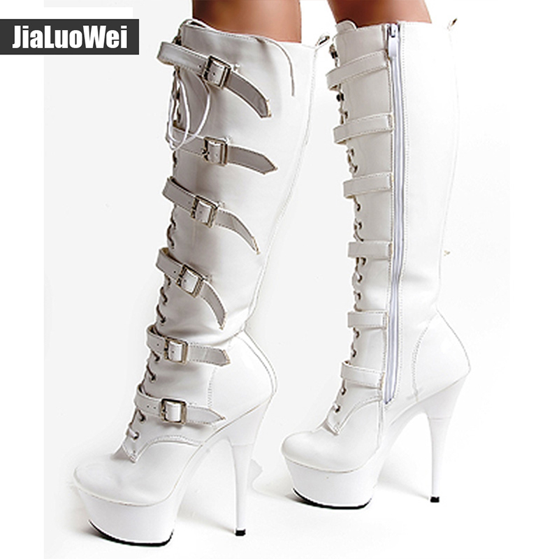 15cm Ultra High Heels Knee High Boots Punk Hasp Shoes Side Zipper Buckles Boots 4CM Platform Fashion Gothic High Gladiator Boots in Knee High Boots from Shoes