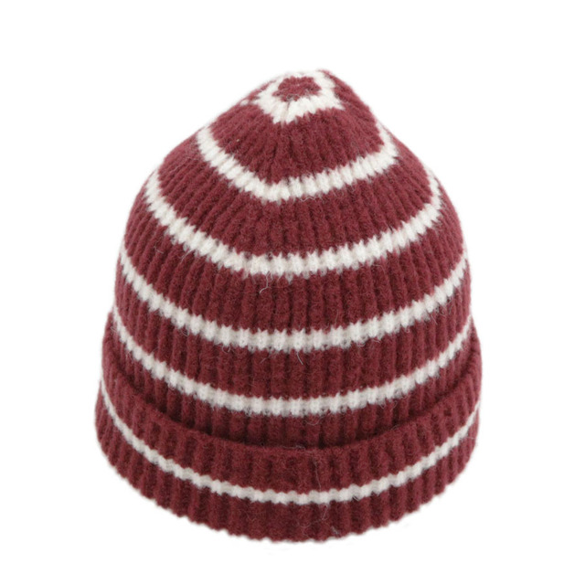 2018 Womens Skullies Hat Bonnet Winter Beanie Knitted Wool Hat Plus Velvet  Cap Thicker Stripe Skis Sports Beanies Hats for men 7e13552fc