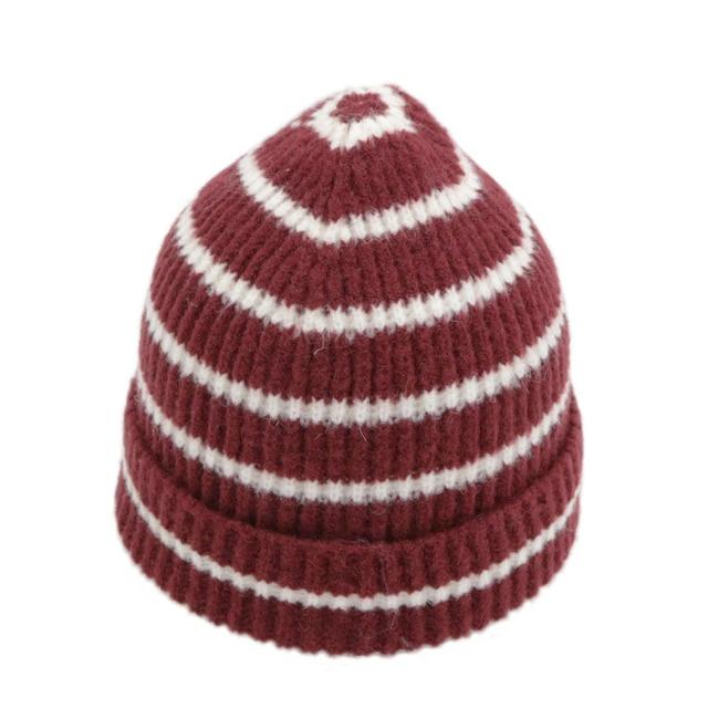 2018 Womens Skullies Hat Bonnet Winter Beanie Knitted Wool Hat Plus Velvet  Cap Thicker Stripe Skis Sports Beanies Hats for men 5a5fdbe154