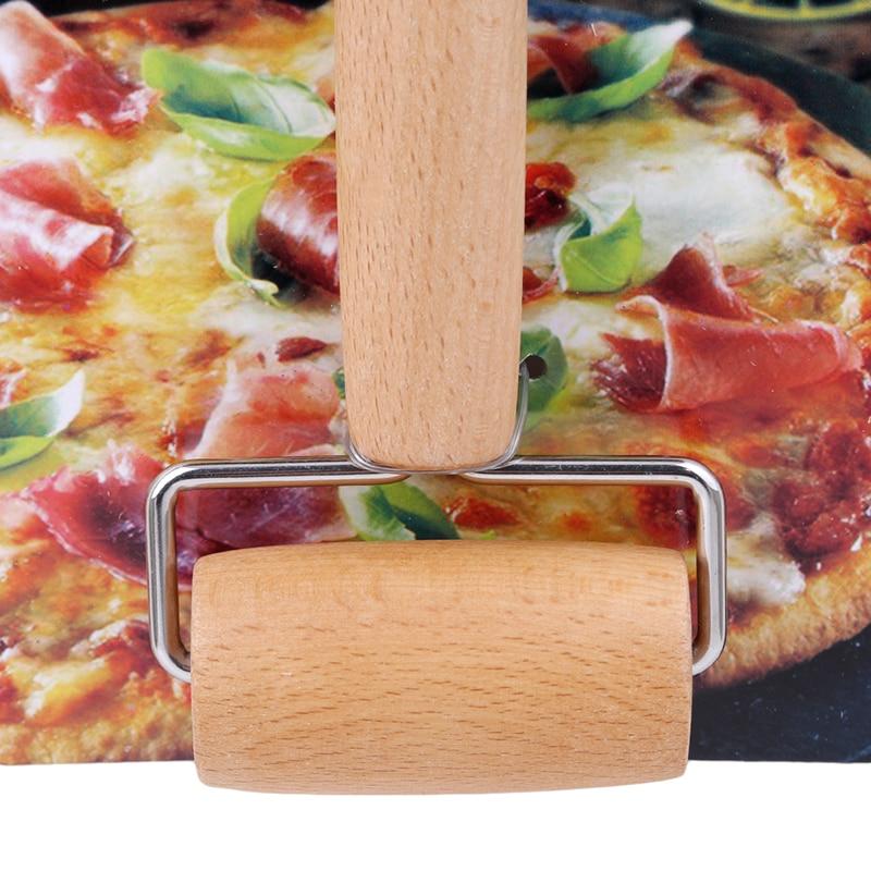 1 St Houten + Rvs Pastry Pizza Roller Handdle Deegroller Keuken Eetkamer Bar Bakvormen Rolling Pins Keuken Gadget Gereedschap