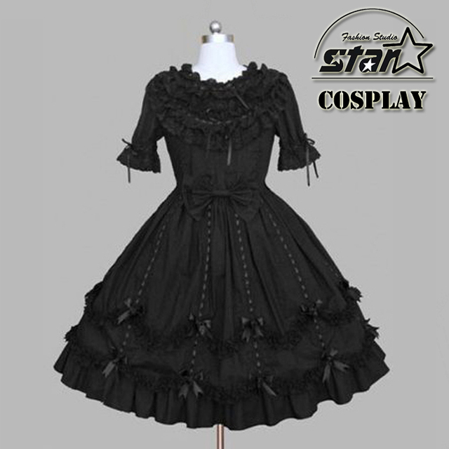 13452e1d5b89c US $5.4 10% OFF Girls Princess Gothic Lolita Dress Court Japanese Cosplay  Costume Black Plus Size Custom made Halloween Costume-in Dresses from  Mother ...