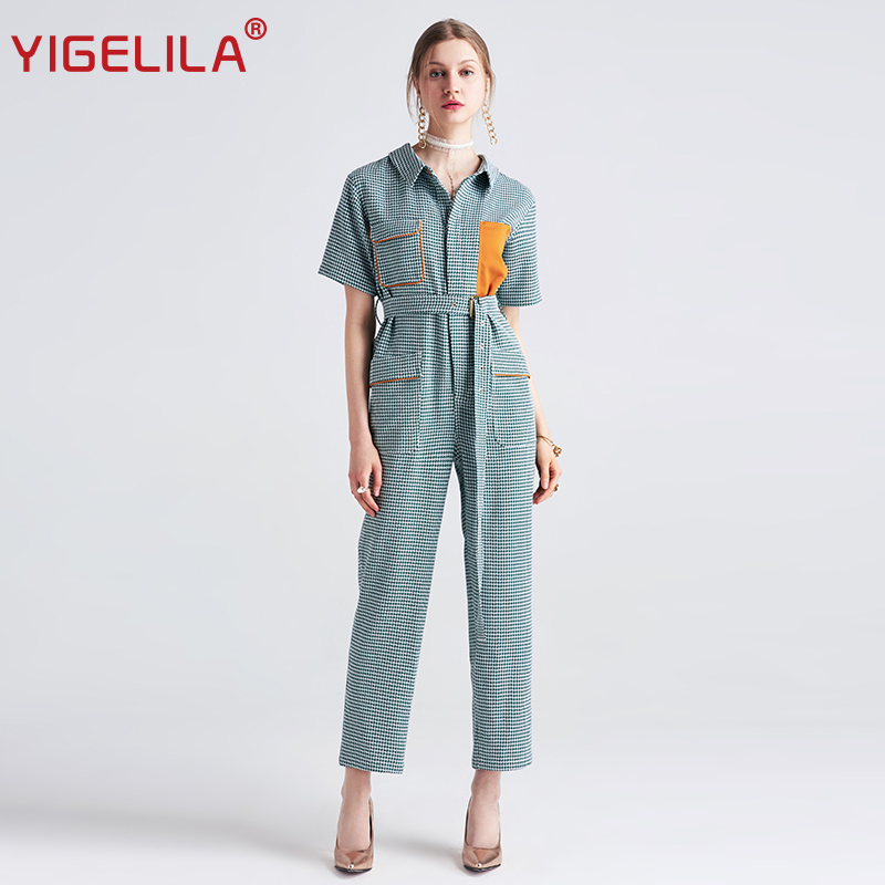 YIGELILA 2018 Latest Women Casual Jumpsuits Fashion Patchwork Short Sleeve Full Length Plaid Dyed Jumpsuits 5408