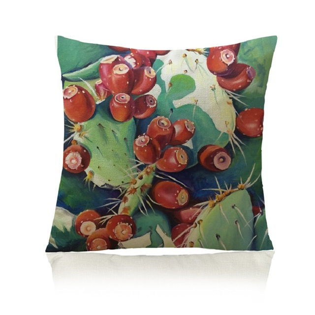 SMAVIA New Hot Sale Tropical Cactus Cotton Pillow Cover Decorative Couch Throw Pillowcase Chair Beautify Home Pillowcase 1pc