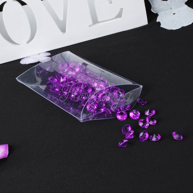 100 pcs/lot Clear PVC Pillow Boxes Wedding Favor / Baby Shower boy / Bridal Sweet Candy Gift Box Party Supplies