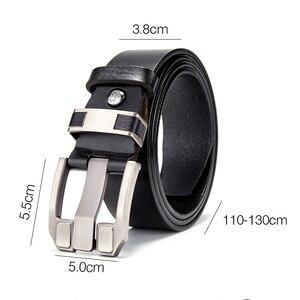 Image 2 - BISON DENIM Men Belts Cow Leather Jeans Waistband Genuine Leather Male Belt Soft Alloy Pin Buckle Mens Belt N71350 2C