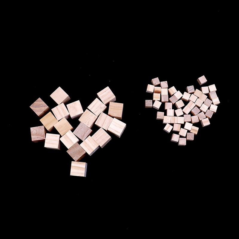 100 Pcs Natural Wooden Squre Mini Cubes Embellishment for Kids DIY Craft 10mm