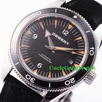 Debert 41mm Sapphire Glass Watch Leather Strap Miyota Movement Automatic Horloges Black Dial Rotatable Ceramic Bezel