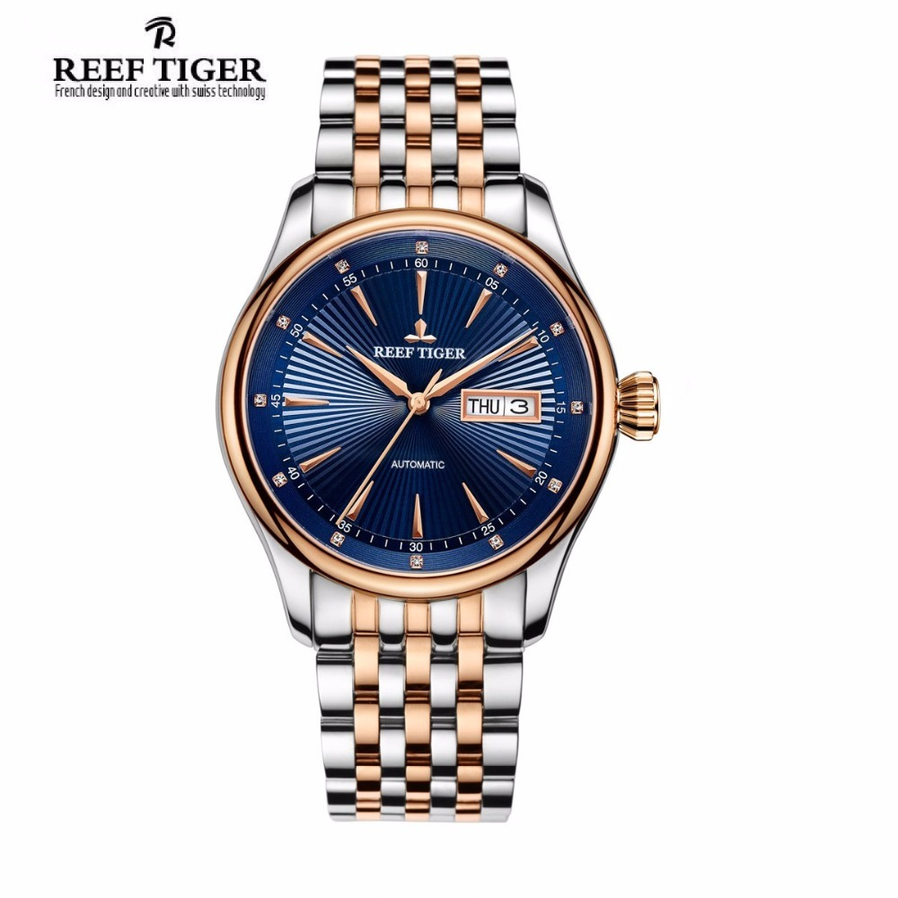 New Reef Tiger/RT Top Brand Men's Dress Watches Waterproof Two Tone Case Blue Dial Wristwatches RGA8232 yn e3 rt ttl radio trigger speedlite transmitter as st e3 rt for canon 600ex rt new arrival
